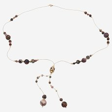 Silver Gold Plated Long Necklace with Matte  Brown Agate Beads and fine accessories
