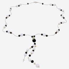 Beautiful Long Necklace with Matte  Black and White Agate Beads and special accessories