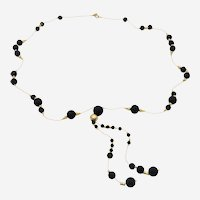 Silver Gold Plated Long Necklace with Black Agate Beads and Silver Beads