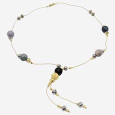 Silver Gold Plated Necklace with Gray Agate Beads and Silver Beads