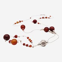 Silver Long Necklace with Brown Agate Beads and Silver Beads