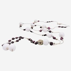 Silver Long Necklace with White Agate, Garnet and Silver Beads