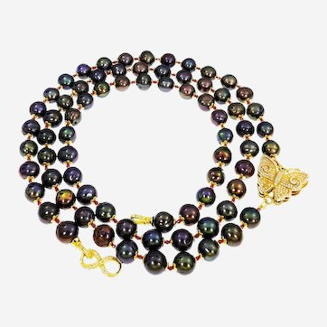 Black cultured Pearl & Ruby Long Necklace with special Accessories