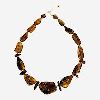 Natural Raw Honey Amber  Necklace with Special  Accessories