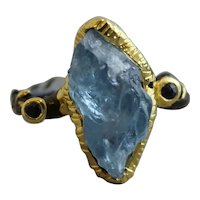 Raw Aquamarine Sapphire Mixed Metal Sterling Silver Ring Size 8.25