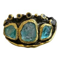 Raw Apatite and Sapphire Mixed Metal Oxidized Sterling Silver Ring Size 8