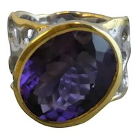 Amethyst Mixed Metal Sterling Silver Ring Size 8.25