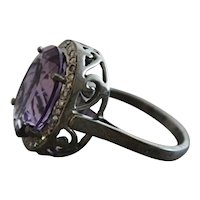 Amethyst and Diamond Oxidized Sterling Silver   Ring  size 7