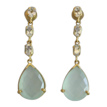 Aquamarine and Aqua Chalcedony Gemstone Gold Plated Sterling Silver Post Earrings