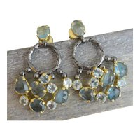 Aquamarine and London Blue Topaz  Oxidized Silver Vermeil Chandelier Earrings