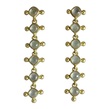 Aqua Chalcedony Gold Plated Sterling Silver Earrings