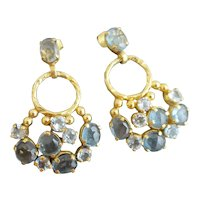 Aquamarine and London Blue Topaz Vermeil Chandelier Earrings