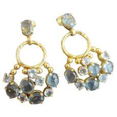 Aquamarine and London Blue Topaz Vermeil Chandelier Earrings