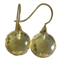 Citrine Round Briolette 14kt Yellow Gold Earrings
