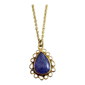Tanzanite and Diamond Gold Plated Sterling Silver  Necklace 17.5 inches