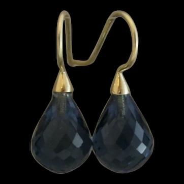 London Blue Topaz Faceted Briolette 14kt Yellow Gold Earrings