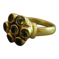 Peridot Gold Plated Sterling Silver ring size 7.5