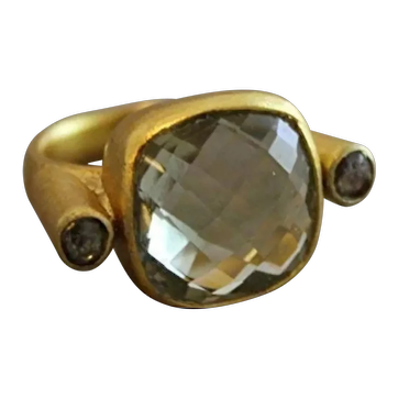 Diamond and Prasiolite Green Amethyst  Gold Plated Sterling Silver Statement Ring  size 6