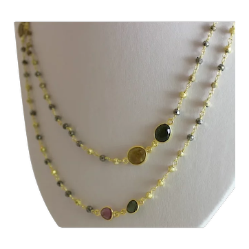 Tourmaline and Pyrite Wire Wrapped Gold Plated Sterling Silver Necklace 44 inches