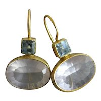 Blue topaz and rose quartz gold plated sterling silver Earrings
