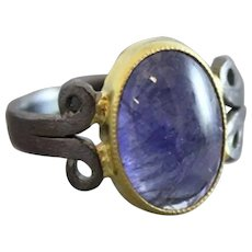 Cabochon Tanzanite Oxidized and Gold Plated Sterling Silver Ring  size 7