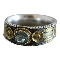 Blue Tourmaline Sterling Silver 18kt Gold Ring Size 7