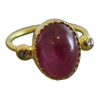 Pink Tourmaline and Diamond Gold Plated Stering Silver Ring size 6