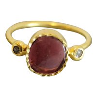 Pink Tourmaline and Diamond Gold Plated Stering Silver Ring size 7