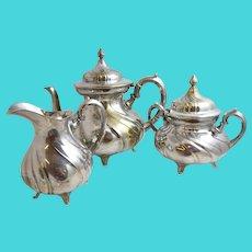 Wurtemberg Tea Pot,  Creamer, Sugarpot  Antique set est 1903-1910