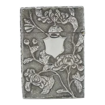 Antique Chinese Export Silver And Foliate 19th Century Card Case