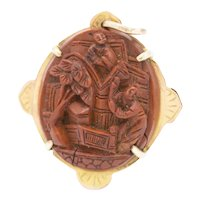 Antique Chinese 9ct Gold Nut Carved Cameo Locket/Pendant