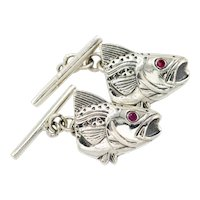 Vintage Sterling Silver And Ruby Fish Head Cufflinks