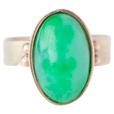 Vintage 9ct Gold And Jade Ring Size O
