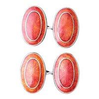 Antique Art Deco Guilloché Enamel Silver Cufflinks. Men's Oval Shaped Cufflinks