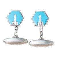 Art Deco English Light Blue Chrome Cufflinks