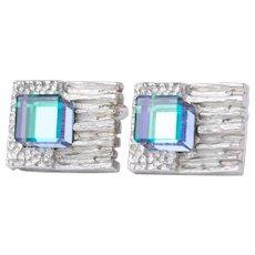 Beautiful Modernist Brutalist Chrome And Glass Cubic Stone Cufflinks