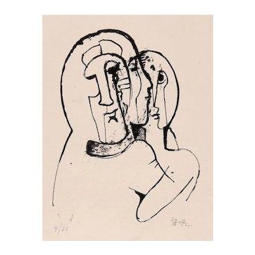 Expressionist School Karl Hofer limited edition print no. 4/22 signed K Hofer-Very Rare