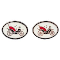 Vintage English Gilt Classic Automobile Cufflinks and A Pin