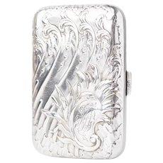 Antique Art Nouveau Sterling Silver Cigarette Case by Charles Murat c.1900