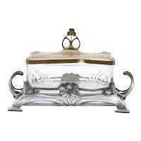 Antique Art Nouveau Jugendstil German Silver Plated Butter Dish WMF 1903-1910
