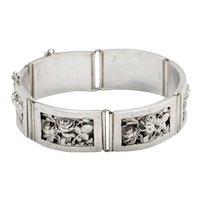 Antique 1900s French Belle Époque Silver Roses  Bracelet