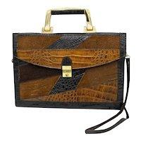 1940's/50's Vintage Patchwork Snakeskin Brown Leather Suede Ladies Handbag