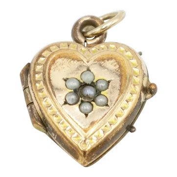 Antique Victorian Rolled Gold Natural Seed Pearl Heart Locket