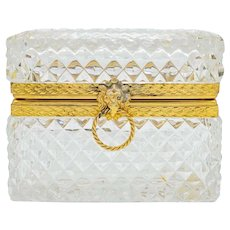 Beautiful Antique French Crystal Diamond Cut Glass Jewellery Box, Casket, Trinket box Baccarat style
