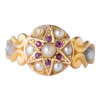 Antique Edwardian 15ct Gold Ring, Pearl & Ruby Star Ring