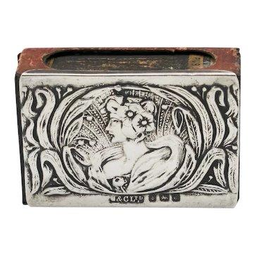 RARE Antique Art Nouveau Sterling Silver Matchbox Holder 1903 Birmingham Green & Cadbury Ltd