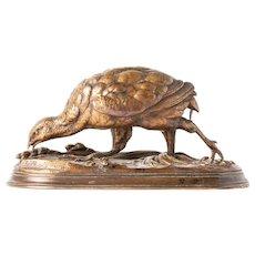 Antique 19th Century French Bronze Sculpture of Partridge By Sculptor Jules Moigniez