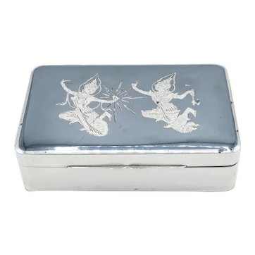 Thai / Siamese Sterling Silver & Niello Cigarette Box Hallmarked