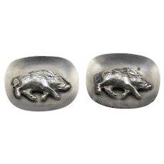 Antique German Wild Boar Solid Silver Cufflinks Hallmarked-RARE