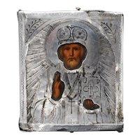 Antique Russian Miniature Silver Travel Icon Alexander Mukhin 1880-RARE